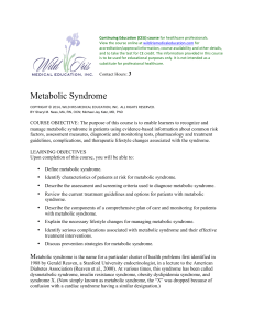 Metabolic Syndrome - Wild Iris Medical Education