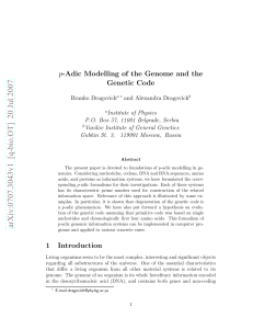 p-Adic Modelling of the Genome and the Genetic Code