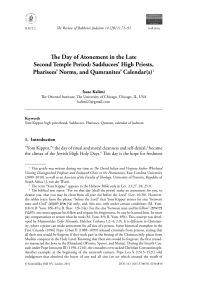 The Day of Atonement in the Late Second Temple Period