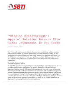 """Mission Breakthrough"": Apparel Retailer Returns Five Times"