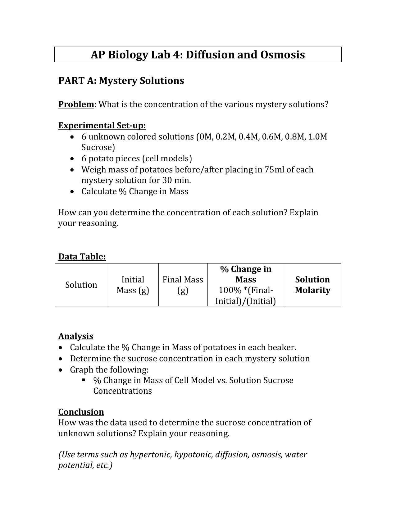 worksheet Diffusion And Osmosis Worksheet Key ap biology lab 4 diffusion and osmosis