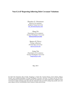 Non-GAAP Reporting following Debt Covenant Violations
