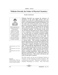 Wilhelm Ostwald, the Father of Physical Chemistry