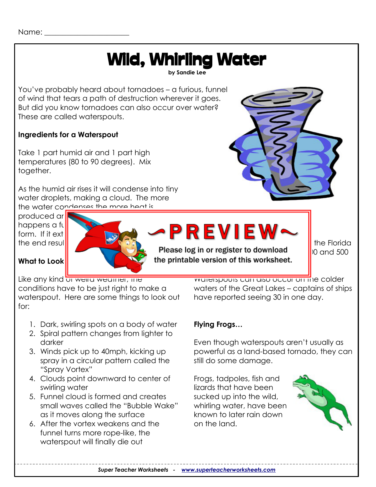 Wild Whirling Water Super Teacher Worksheets