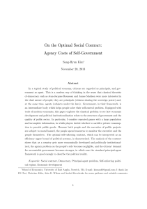On the Optimal Social Contract: Agency Costs of Self