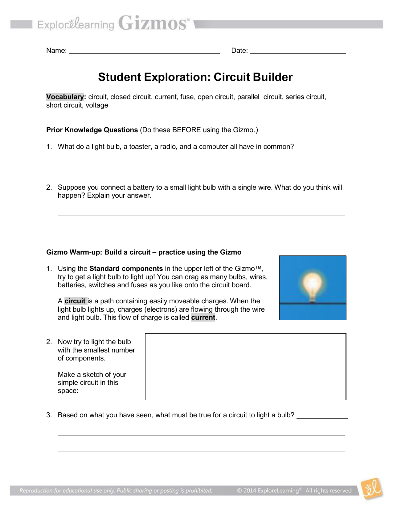 Student Exploration Circuit Builder Electric With Switch Battery And Lamp A Series