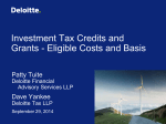 Investment Tax Credits and Grants - Eligible Costs and Basis