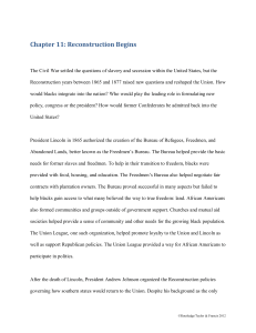 Chapter 11: Reconstruction Begins