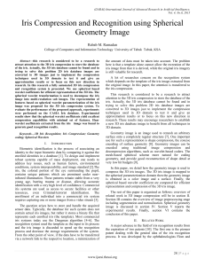 Iris Compression and Recognition using Spherical Geometry Image