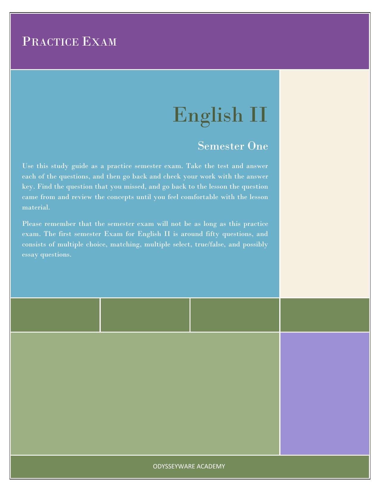 answers for exam english iii odysseyware