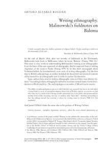 Writing ethnography. Malinowski`s fieldnotes on Baloma