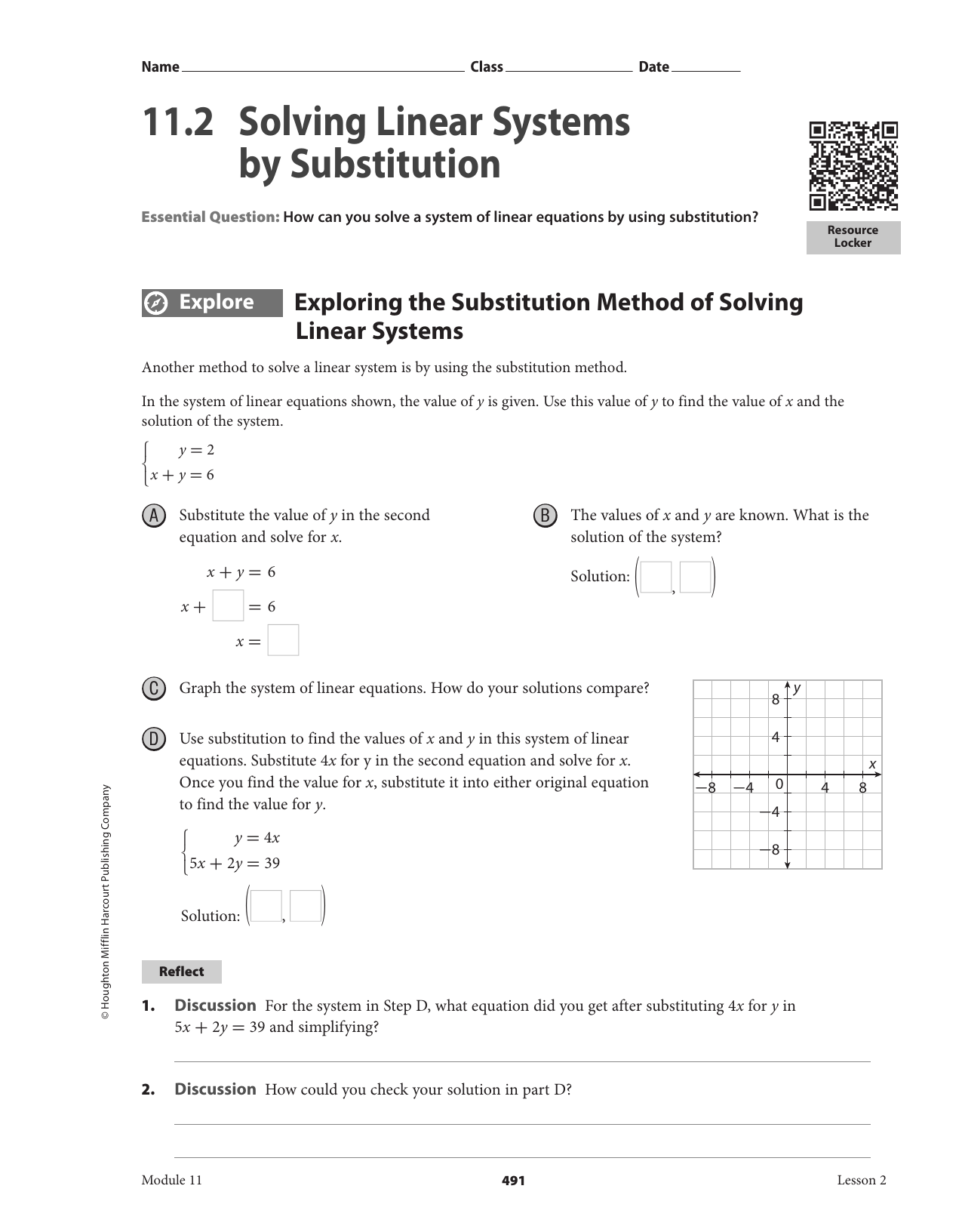 11 2 Solving Linear Systems By Substitution