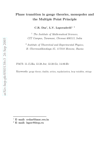 Phase transition in gauge theories, monopoles and the Multiple