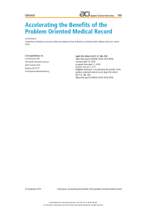 Accelerating the Benefits of the Problem Oriented Medical Record