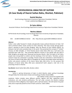 SOCIOLOGICAL ANALYSIS OF SUFISM (A Case Study of Hazret