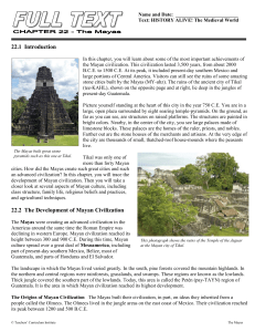 22.1 Introduction 22.2 The Development of Mayan Civilization