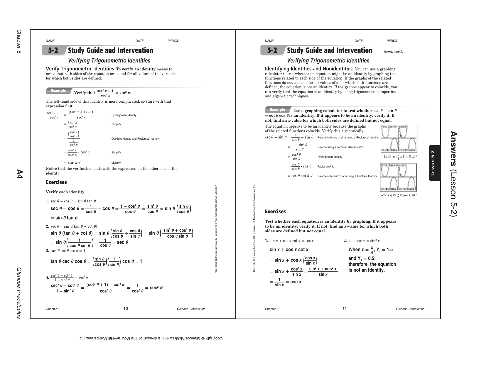 5 3 Solving Trig Equations Worksheet 2 Precalculus Answers