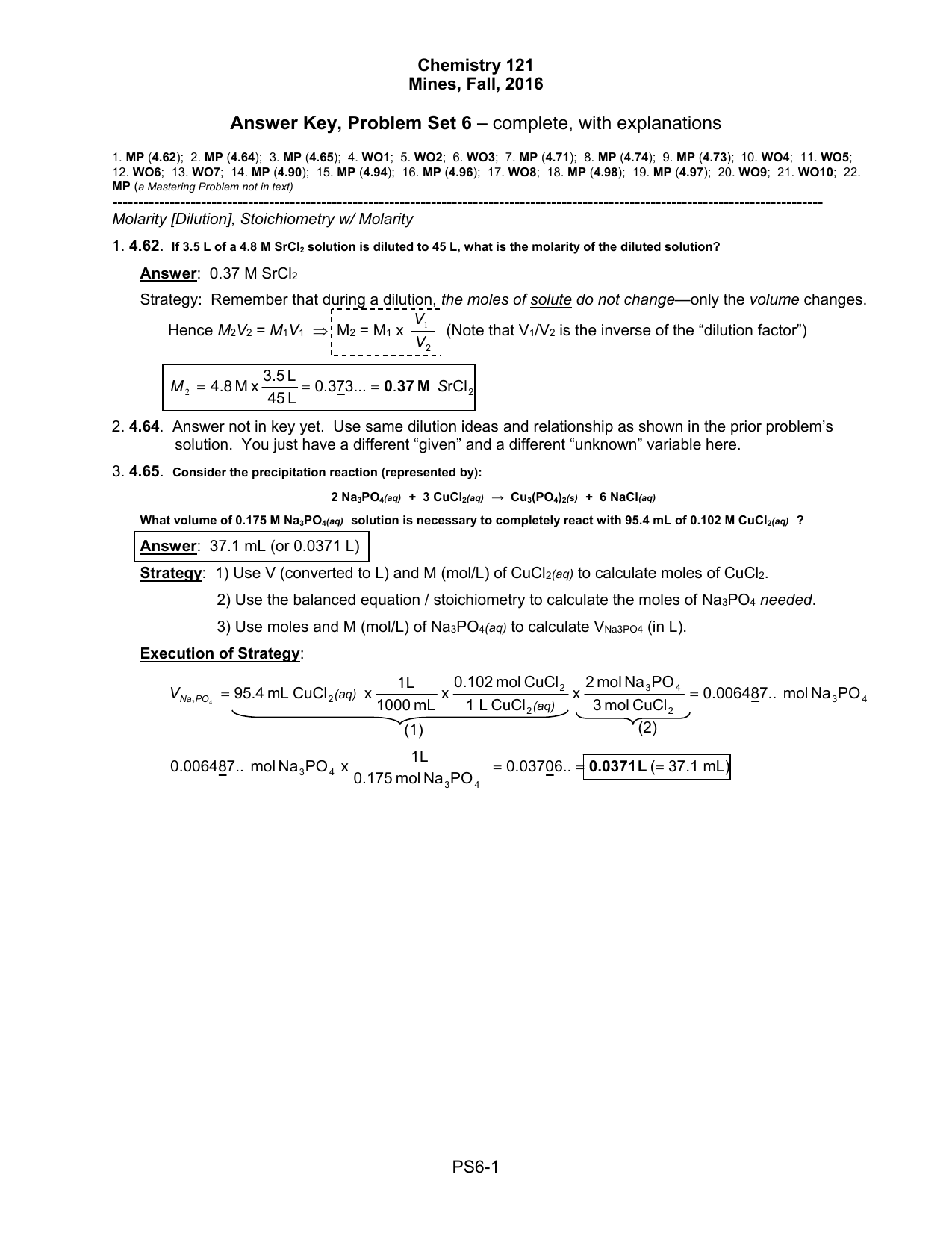 Solutions Worksheet 2 Molarity And Dilution Problems Checks Worksheet
