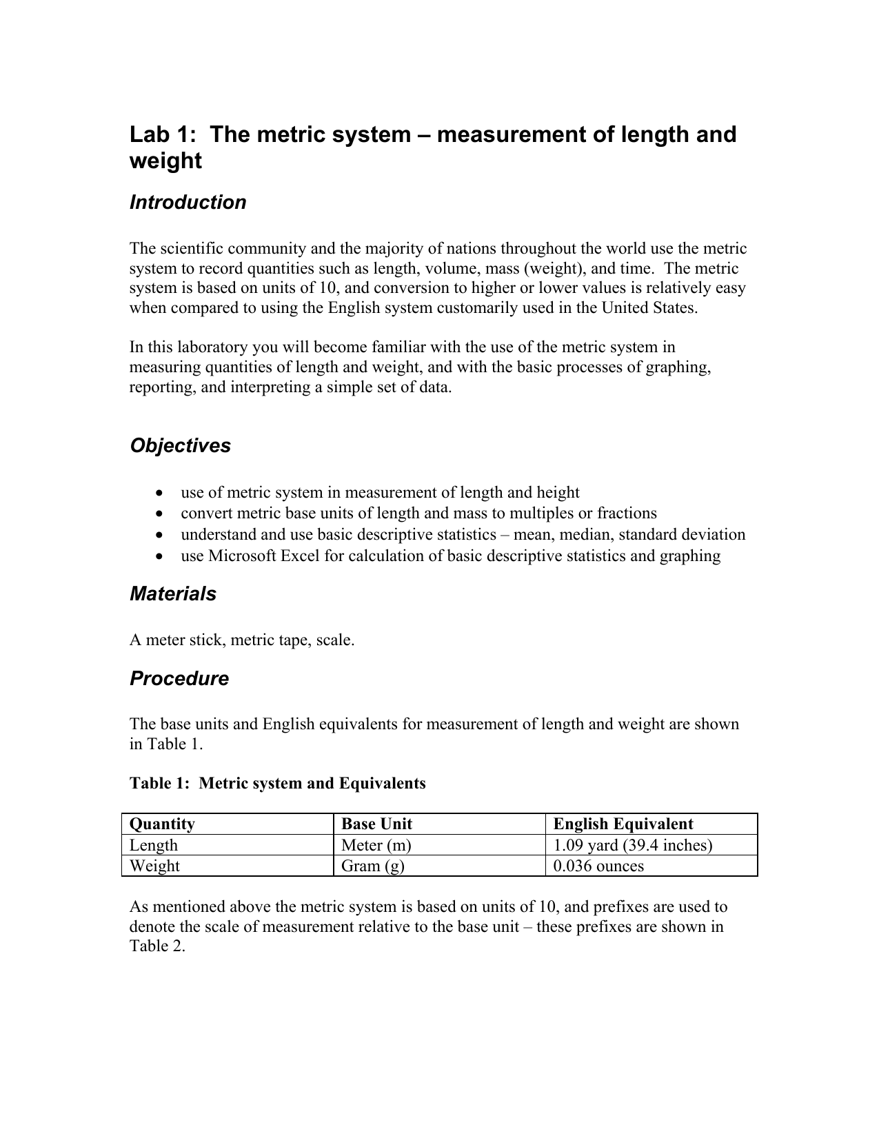 lab 1: the metric system – measurement of length and weight