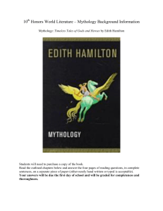 10th Honors World Literature Mythology Background