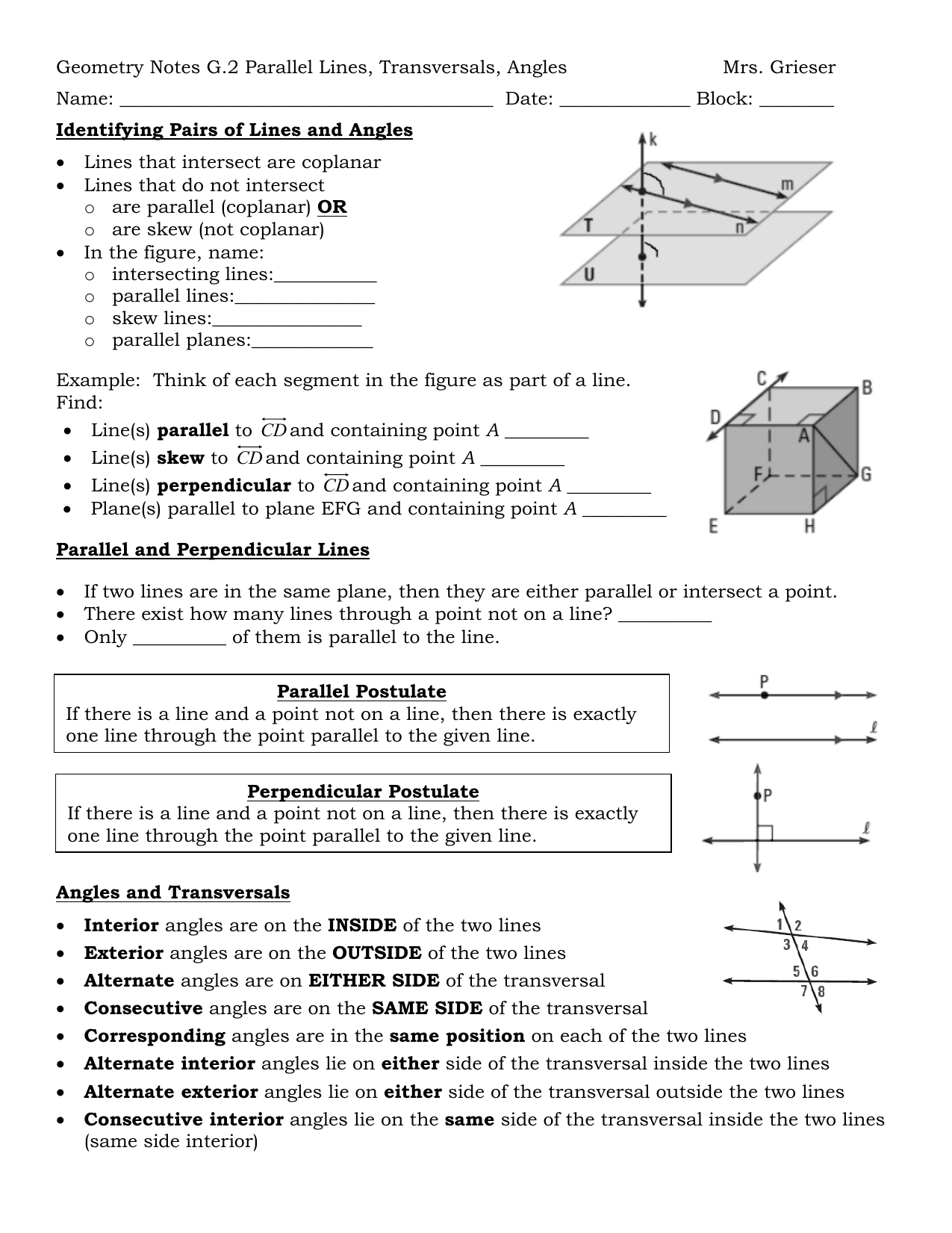 Geometry Notes G 2 Parallel Lines Transversals Angles Mrs