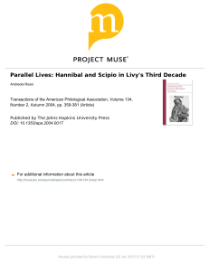 Parallel Lives: Hannibal and Scipio in Livy`s Third Decade