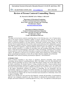 Review of Person Centered Counselling Theory
