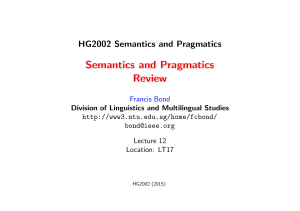 Lecture 12: Semantics and Pragmatics