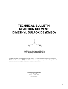 technical bulletin reaction solvent dimethyl sulfoxide (dmso)