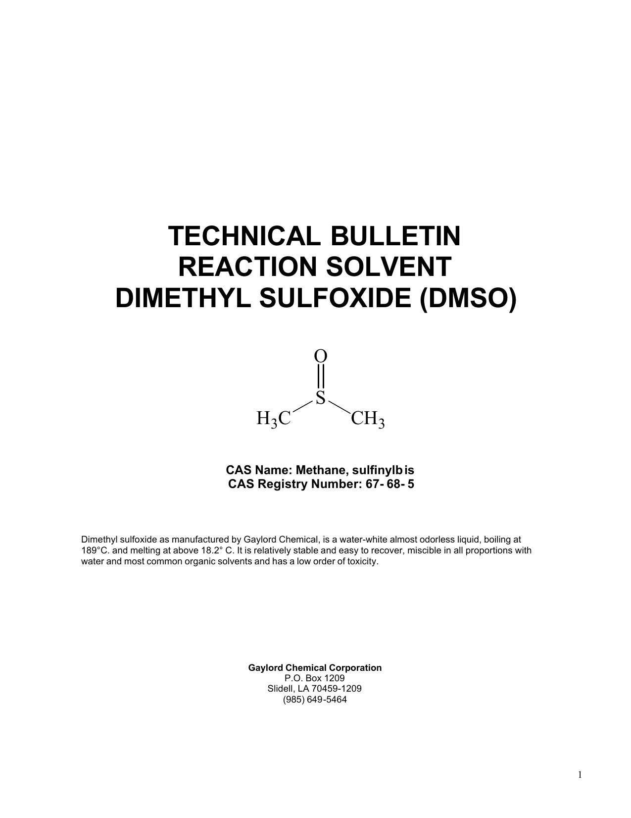 technical bulletin reaction solvent dimethyl sulfoxide (dmso)
