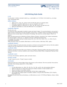 UAS Writing Style Guide - University of Alaska Southeast
