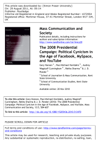 The 2008 Presidential Campaign: Political Cynicism in the Age of