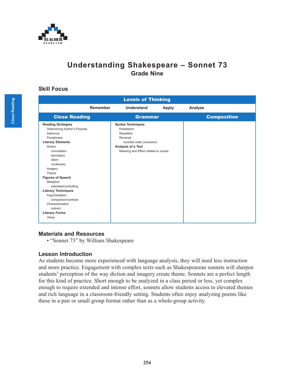 shakespeare sonnet 73 theme