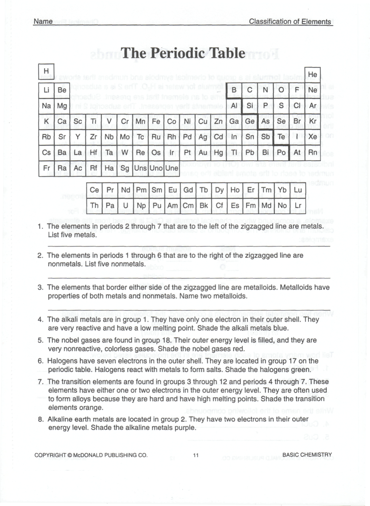 Periodic Table Worksheet Answer Key Chemistry If8766 ...