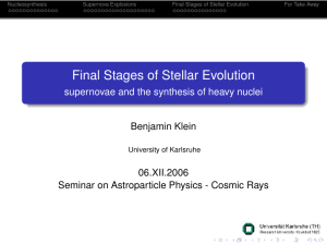 Final Stages of Stellar Evolution - supernovae and the synthesis of