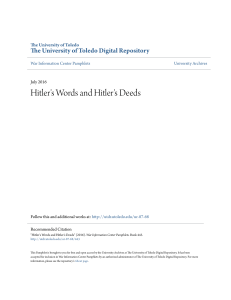 Hitler`s Words and Hitler`s Deeds - University of Toledo Digital