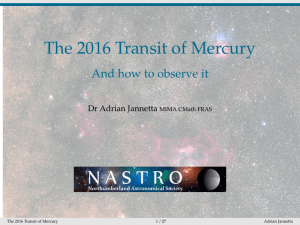 The 2016 Transit of Mercury