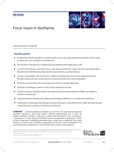 Focus issues in dysthymia