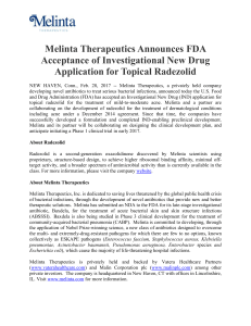 Melinta Therapeutics Announces FDA Acceptance of Investigational