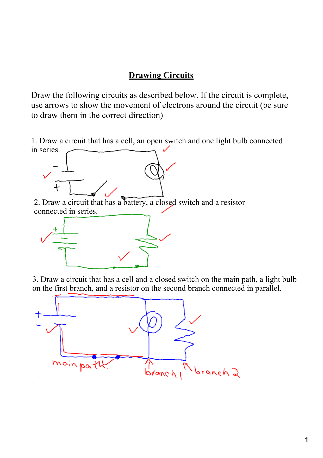 drawing circuits draw the following circuits as described