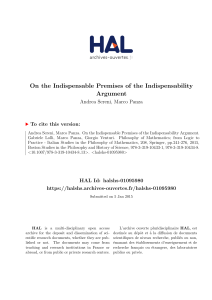 On the Indispensable Premises of the Indispensability - Hal-SHS