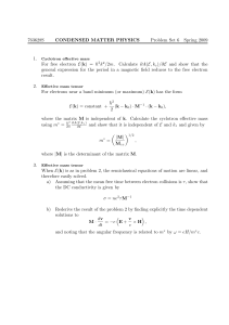 763628S CONDENSED MATTER PHYSICS Problem Set 6 Spring