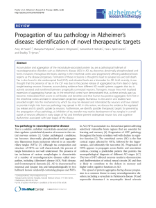 Propagation of tau pathology in Alzheimer`s disease