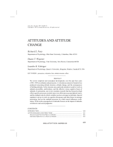 Attitudes and Attitude Change - psychology at Ohio State University