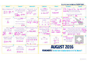 Monthly Maths -August – SOLUTIONS