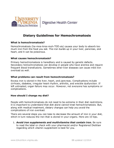 Dietary Guidelines for Hemochromatosis