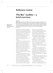 Software review The Bioà toolkits – a brief overview