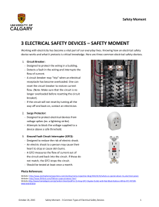 3 ELECTRICAL SAFETY DEVICES – SAFETY MOMENT