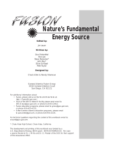 Fusion Workbook - General Atomics Fusion Education