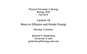 Lecture 18 More on Diffusion and Kinetic Energy